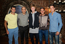 LIVERPOOL, ENGLAND - Thursday, June 18, 2015: Players and sponsors Pablo Andujar (ESP), Dr Omid Alizadehkhaiyat (Liverpool Hope University), Andrey Rublev (RUS), Damir Dzumhur (BIH) and Algae Bedene (GBR) at Alma De Cuba during a players' dinner on Day 1 of the Liverpool Hope University International Tennis Tournament at Liverpool Cricket Club. (Pic by David Rawcliffe/Propaganda)