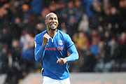 **GOAL** Calvin Andrew celebrates scoring 1-0 during the EFL Sky Bet League 1 match between Rochdale and Peterborough United at Spotland, Rochdale, England on 25 November 2017. Photo by Daniel Youngs.