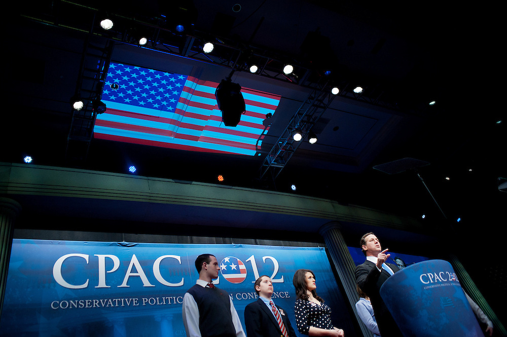 Former United States Senator RICK SANTORUM, speaks at the annual Conservative Political Action Conference (CPAC) in Washington, D.C. on Friday. CPAC, which began in 1973, attracts more than 10,000 people and The American Conservative Union, which runs it, announced it expected 1,200 members of the media.