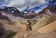Rock cairn navigational trail marker. The Zanskar region, Ladakh, India. The Darcha - Lamayuru trek route.
