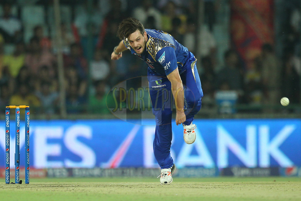 Mitchell McClenaghan of the Mumbai Indians bowls during match 21 of the Pepsi IPL 2015 (Indian Premier League) between The Delhi Daredevils and The Mumbai Indians held at the Ferozeshah Kotla stadium in Delhi, India on the 23rd April 2015.<br /> <br /> Photo by:  Deepak Malik / SPORTZPICS / IPL