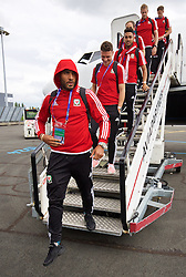 LILLE, FRANCE - Wednesday, June 15, 2016: Wales' captain Ashley Williams arrives in at Lille Lesquin International Airport as for their Group Stage MD 2 game of the UEFA Euro 2016 Championship against England. (Pic by David Rawcliffe/Propaganda)