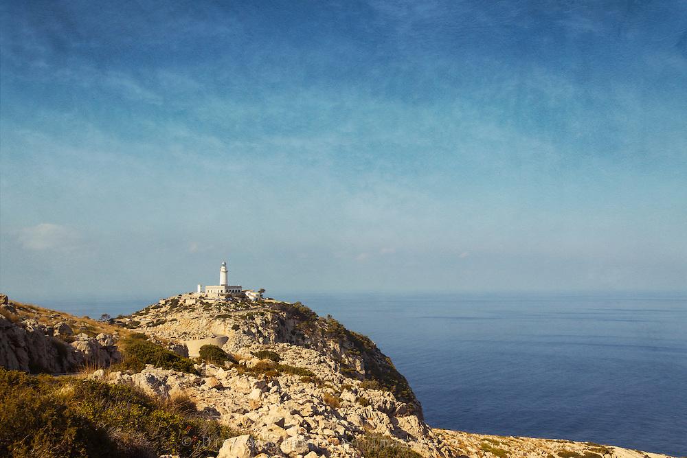 Blick auf Leuchtturm Cap Formentor, Mallorca, Spanien