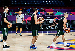 Luka Doncic of Slovenia, Goran Dragic of Slovenia, Matic Rebec of Slovenia at practice session of Team Slovenia 1 day before final match against Serbia at Day 17 of FIBA EuroBasket 2017 at Sinan Erdem Dome in Istanbul, Turkey on September 16, 2017. Photo by Vid Ponikvar / Sportida
