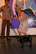 Helen Bales, Andrew and Archie ( the pug ). 'Stellawood' exhibition of work by Stella Vine, Hamiltons. Carlos Place. London. 22 June 2005. ONE TIME USE ONLY - DO NOT ARCHIVE  © Copyright Photograph by Dafydd Jones 66 Stockwell Park Rd. London SW9 0DA Tel 020 7733 0108 www.dafjones.com