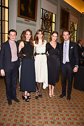 Left to right, Lord Hugo Manners, Lady Violet Manners, Lady Alice Manners, Lady Eliza Manners and The Marquess of Granby children of the 11th Duke of Rutland at a party to celebrate the publication of Resolution by The Duke of Rutland and Emma Ellis held at Trinity House, Tower Hill, London England. 10 April 2017.