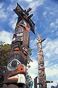 Totem poles in Thunderbird Park, Victoria, Vancouver Island, British Columbia, Canada.