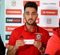 CARDIFF, WALES - Thursday, August 31, 2017: Wales' Neil Taylor during the 2nd round draw for the FAW Welsh Premier League Cup at the Vale Resort. (Pic by David Rawcliffe/Propaganda)