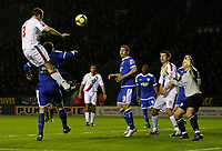 Photo: Steve Bond/Richard Lane Photography. Leicester City v Crystal Palace. E.ON FA Cup Third Round. 03/01/2009. Clint Hill (L) gets highest to head for goal