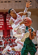 BLOOMINGTON, IN - NOVEMBER 24: Devonte Green #11 of the Indiana Hoosiers drives to the basket against the Eastern Michigan Eagles at Assembly Hall on November 24, 2017 in Bloomington, Indiana.