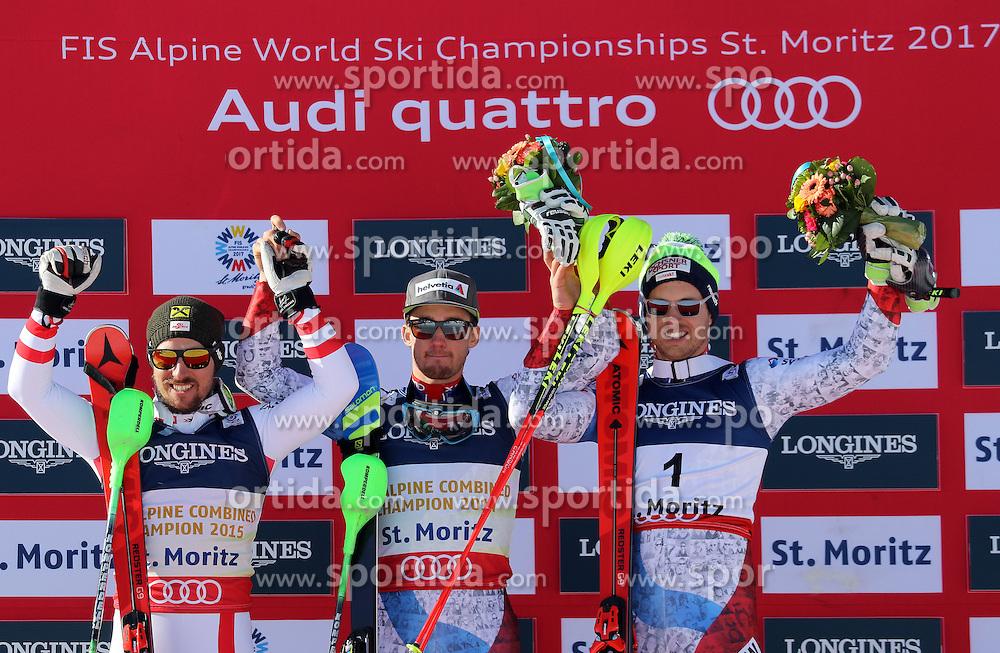 13.02.2017, St. Moritz, SUI, FIS Weltmeisterschaften Ski Alpin, St. Moritz 2017, alpine Kombination, Herren, Flower Zeremonie, im Bild v.l. Marcel Hirscher (AUT, Herren Alpine Kombination Silbermedaille), Luca Aerni (SUI, Herren Alpine Kombination Weltmeister und Goldmedaille), Mauro Caviezel (SUI, Herren Alpine Kombination Bronzemedaille) // f.l. men&rsquo;s Alpine Combined Silver medalist Marcel Hirscher of Austria, men&rsquo;s Alpine Combined world Champion and Gold medalist Luca Aerni of Switzerland, men&rsquo;s Alpine Combined Bronze medalist Mauro Caviezel of Switzerland during the Flowers ceremony for the men's Alpine combination of the FIS Ski World Championships 2017. St. Moritz, Switzerland on 2017/02/13. EXPA Pictures &copy; 2017, PhotoCredit: EXPA/ Sammy Minkoff<br /> <br /> *****ATTENTION - OUT of GER*****