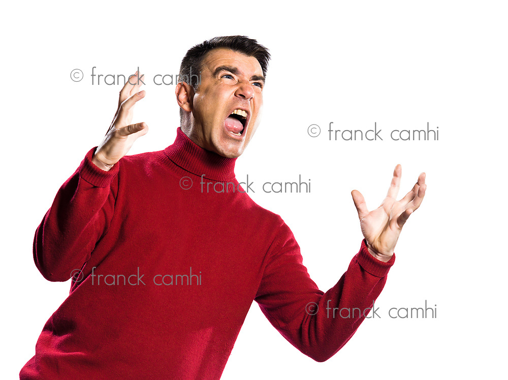 caucasian man anger gesture studio portrait on isolated white backgound