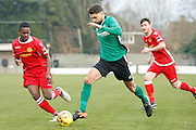 Burgess Hill midfielder Jack Brivio looks to attack the goal during the Ryman Premier League match between Merstham and Burgess Hill at Moatside, Merstham, United Kingdom on 31 December 2016. Photo by Andy Walter.
