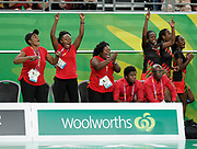 8th April 2018, Gold Coast Convention and Exhibition Centre, Gold Coast, Australia; Commonwealth Games day 4; Netball Malawi versus New Zealand Malawis bench start to celebrate a huge upset as they defeat New Zealand 57-53
