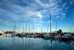Sailboats are moored in the Viaduct Harbour (Basin), at morning, Auckland, New Zealand