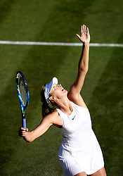 Maria Sharapova in action against Vitalia Diatchenko on day two of the Wimbledon Championships at the All England Lawn Tennis and Croquet Club, Wimbledon.