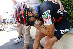 July 15, 2018 - Amiens Metropole, FRANCE - Australian Richie Porte of BMC Racing pictured after a crash during the eighth stage of the 105th edition of the Tour de France cycling race, from Arras Citadelle to Roubaix (156,5 km), in France, Sunday 15 July 2018. This year's Tour de France takes place from July 7th to July 29th. BELGA PHOTO YUZURU SUNADA (Credit Image: © Yuzuru Sunada/Belga via ZUMA Press)