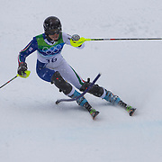 Winter Olympics, Vancouver, 2010. Manuela Moelgg, Italy, in action in the Alpine Skiing Ladies Slalom at Whistler Creekside, Whistler, during the Vancouver Winter Olympics. 24th February 2010. Photo Tim Clayton