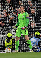 Football - 2018 / 2019 UEFA Europa League - Semi-Final, Second Leg: Chelsea (1) vs. Eintracht Frankfurt (1)<br /> <br /> Chelsea's Cesar Azpilicueta celebrates as he saves a penalty in the 4-3 penalty shoot out victory after the scores finished 1-1 after extra time, at Stamford Bridge.<br /> <br /> COLORSPORT/ASHLEY WESTERN