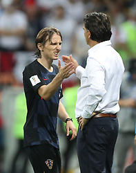 MOSCOW, July 11, 2018  Croatia's Luka Modric (L) shakes hands with head coach Zlatko Dalic after being substituted off during the 2018 FIFA World Cup semi-final match between England and Croatia in Moscow, Russia, July 11, 2018. Croatia won 2-1 and advanced to the final. (Credit Image: © Cao Can/Xinhua via ZUMA Wire)