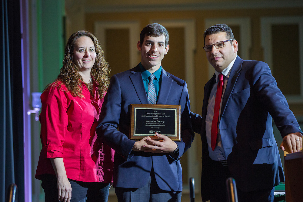 Civil Engineering Outstanding Senior and Senior Academic Achievement Award: Alexander Conroy, Fritz J. and Dolores H. Russ College of Engineering and Technology Student Awards Banquet April 10, 2016. (Photo by Emily Matthews)