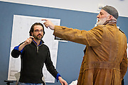 """Director Benjamin McGovern, left, works with renowned actor Stephen Yoakam during rehearsals for """"An Iliad"""" at the Guthrie Theater, Thursday, April 18, 2013."""