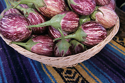 United States, New Mexico, eggplants in basket at market