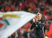 Manchester United Defender Chris Smalling thanking the fans during the Champions League match between Benfica and Manchester United at Estadio da Luz, Benfica, Portugal on 18 October 2017. Photo by Ahmad Morra.