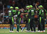 Pakistan captain Sarfraz Ahmed celebrates winning the series with team mates.<br /> Pakistan tour of New Zealand. T20 Series. 3rd Twenty20 international cricket match, Bay Oval, Mt Maunganui, New Zealand. Sunday 28 January 2018. © Copyright Photo: Andrew Cornaga / www.Photosport.nz