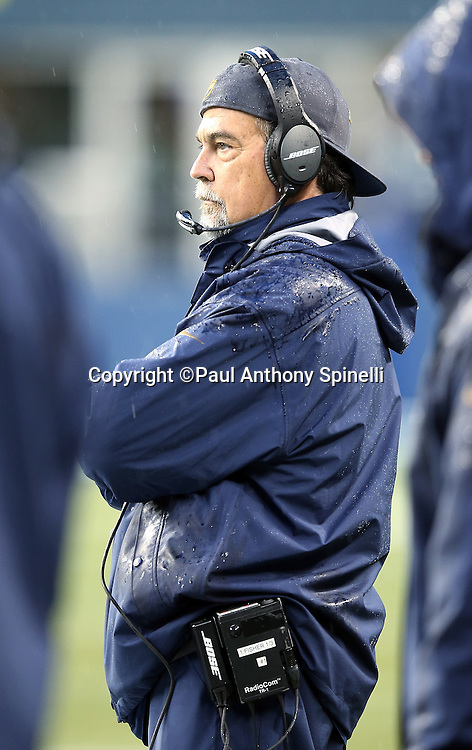 St. Louis Rams head coach Jeff Fisher looks on from the sideline during the 2015 NFL week 16 regular season football game against the Seattle Seahawks on Sunday, Dec. 27, 2015 in Seattle. The Rams won the game 23-17. (©Paul Anthony Spinelli)