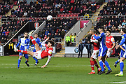 Rotherham United player Matt Crooks (17) takes overhead kick at goal during the EFL Sky Bet League 1 match between Rotherham United and Bristol Rovers at the AESSEAL New York Stadium, Rotherham, England on 18 January 2020.