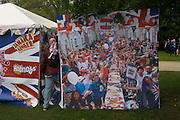 McVities ad showing a street party in battersea Park as the great British public brave bad weather to celebrate the Queen's Diamond Jubilee flotilla on the river Thames. 1,000 boats made their way past Battersea Park, London including their reigning monarch of 60 years and other members of the royal family during a weekend of official festivities and street parties.