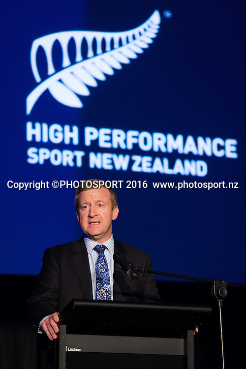 Hon. Jonathan Coleman at the High Performance Sport NZ Waikato ceremony for the Prime Minister's Scholarship Awards, at Sir Don Rowlands Centre, Lake Karapiro, Cambridge, New Zealand, 20 April 2016. Copyright Photo: Stephen Barker / www.photosport.nz