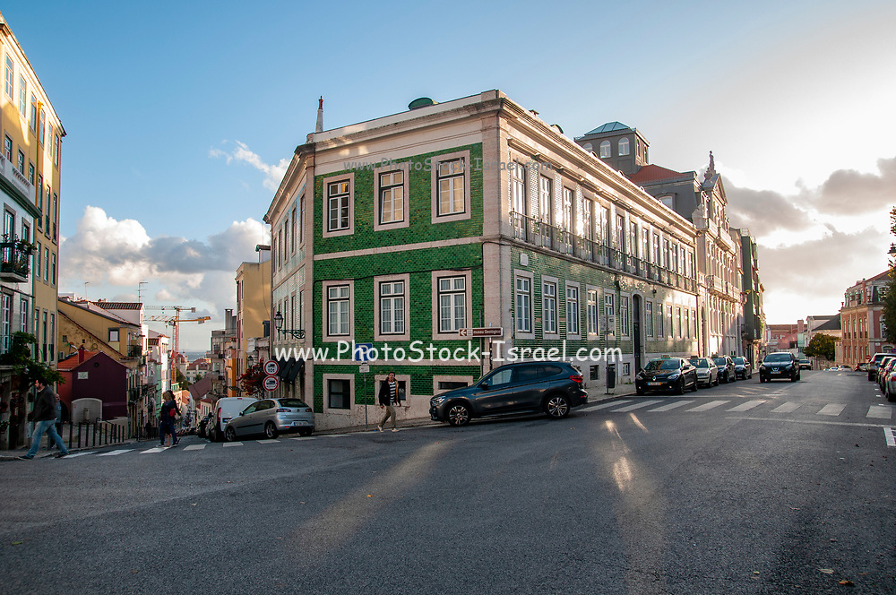 Architecture and cityscape in Dom Pedro V street, Lisbon, Portugal