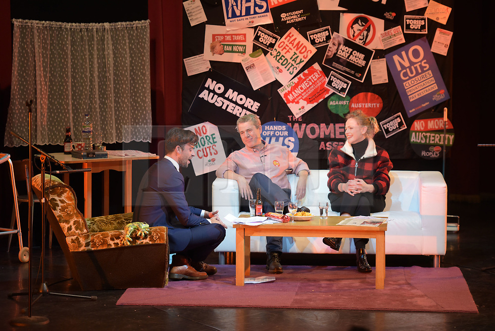 © Licensed to London News Pictures. 26/04/2016. Manchester, UK.  Jolyon Rubinstein from The Revolution Will Be Televised, Mark Serwotka, General Secretary of the PCS Union, and Actress, Maxine Peake at Saturday Night Live Manchester chat show event as part of the Take Back Manchester festival to protest the Conservative Party conference taking part in the city.  Photo credit: Steven Speed/LNP
