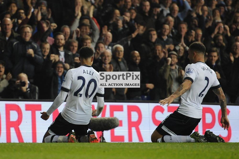 Tottenhams Dele Alli celebrates scoring Tottenhams second goal with Kyle Walker during the Tottenham v Aston Villa match in the Barclays Premier League on the 2nd November 2015