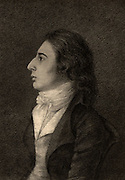 Robert Southey (1774-1843) English poet of the Romantic school, born at Bristol.  Brother-in-law of his friend Coleridge and one of the Lake Poets.  Appointed Poet Laureate 1813.  Lithograph after the portrait by Robert Hancock. British Literature English