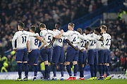 Tottenham Hotspur players watch as Tottenham Hotspur midfielder Eric Dier (15) misses his penalty, during the EFL Cup semi final second leg match between Chelsea and Tottenham Hotspur at Stamford Bridge, London, England on 24 January 2019.
