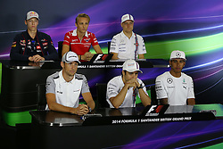 03.07.2014, Silverstone Circuit, Silverstone, ENG, FIA, Formel 1, Grand Prix von Grossbritannien, Vorberichte, im Bild (L to R): Daniil Kvyat (RUS) Scuderia Toro Rosso, Max Chilton (GBR) Marussia F1 Team, Valtteri Bottas (FIN) Williams, Jenson Button (GBR) McLaren, Felipe Massa (BRA) Williams and Lewis Hamilton (GBR) Mercedes AMG F1 in the Press Conference // during the preperation of British Formula One Grand Prix at the Silverstone Circuit in Silverstone, Great Britain on 2014/07/03. EXPA Pictures © 2014, PhotoCredit: EXPA/ Sutton Images/ Davenport<br /> <br /> *****ATTENTION - for AUT, SLO, CRO, SRB, BIH, MAZ only*****