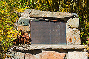 Carson's Camp historical plaque at the Silver Lake Resort, Inyo National Forest, California USA