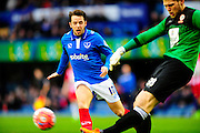 Portsmouth's Marc McNulty cases down a ball to put presure onAccrington Stanley's Jason Mooney during the The FA Cup match between Portsmouth and Accrington Stanley at Fratton Park, Portsmouth, England on 5 December 2015. Photo by Graham Hunt.