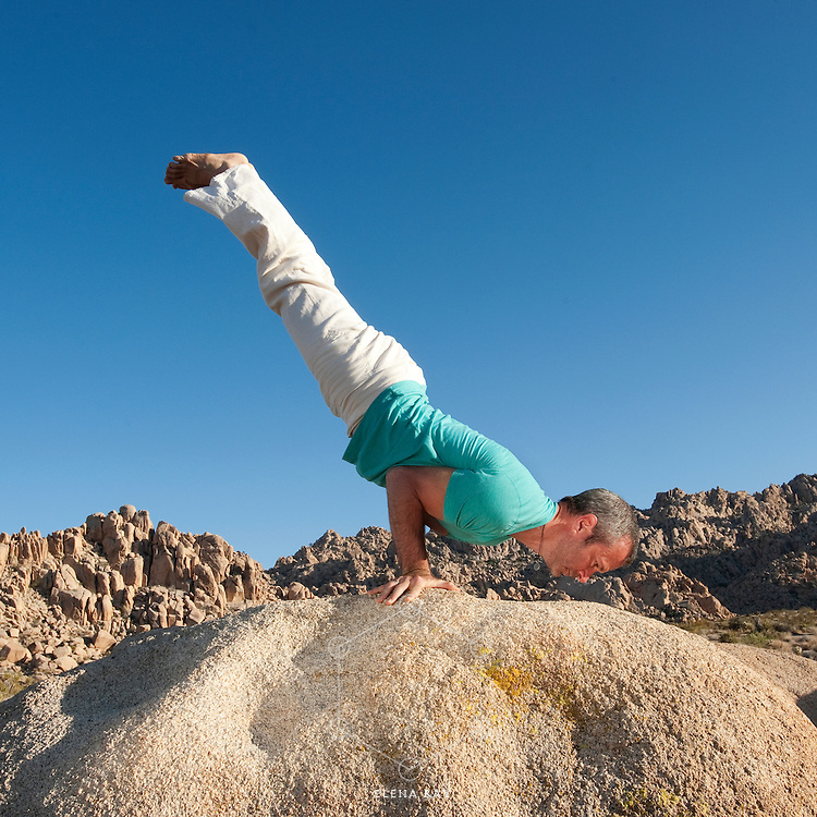 Fit man in the yoga pose Peacock outdoors in a boulder landscape.