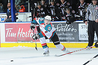 KELOWNA, CANADA - FEBRUARY 18: Colten Martin #8 of the Kelowna Rockets makes a pass against the Red Deer Rebels at the Kelowna Rockets on February 18, 2012 at Prospera Place in Kelowna, British Columbia, Canada (Photo by Marissa Baecker/Shoot the Breeze) *** Local Caption ***