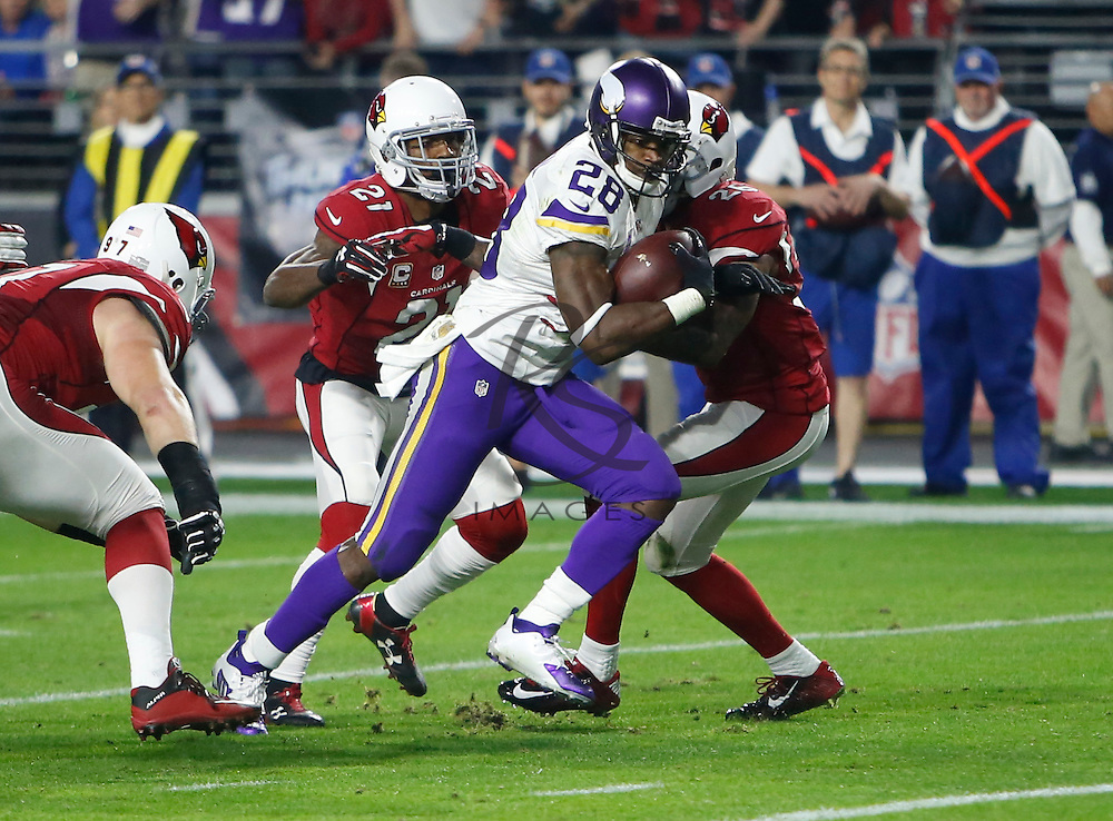 Minnesota Vikings running back Adrian Peterson (28) runs in for his 100th career touchdown against the Arizona Cardinals during the first half of an NFL football game, Thursday, Dec. 10, 2015, in Glendale, Ariz. (AP Photo/Rick Scuteri)