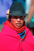 ECUADOR, MARKETS, CRAFTS Saquisili market woman portrait