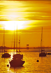 &copy; Licensed to London News Pictures. 02/08/2018<br /> Gravesend, UK. Boats on the River Thames at sunrise at Gravesend in Kent, as the UK is expected to experience another heatwave. Photo credit: Grant Falvey/LNP