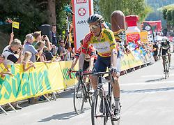 07.07.2017, St. Johann Alpendorf, AUT, Ö-Tour, Österreich Radrundfahrt 2017, 5. Etappe von Kitzbühel nach St. Johann/Alpendorf (212,5 km), im Bild Stefan Denifl (AUT, Team Aqua Blue Sport) im gelben Trikot // Stefan Denifl of Austria (Aqua Blue Sport) in the yellow jersey during the 5th stage from Kitzbuehel to St. Johann/Alpendorf (212,5 km) of 2017 Tour of Austria. St. Johann Alpendorf, Austria on 2017/07/07. EXPA Pictures © 2017, PhotoCredit: EXPA/ Reinhard Eisenbauer