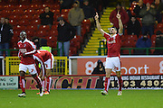 Swindon Town defender Raphael Rossi-Branco celebrates his goal during the Sky Bet League 1 match between Swindon Town and Scunthorpe United at the County Ground, Swindon, England on 14 November 2015. Photo by Mark Davies.