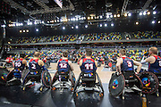 UNITED KINGDOM, London: 2015 World Wheelchair Rugby Challenge. Caption: Great Britain players watch their teammates battle it out against France for the position of fifth and sixth. GBR won, placing them fifth. Rick Findler / Story Picture Agency