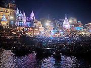 India, Uttar Pradesh. Varanasi (Benares). Evening Aarti ceremony at Dashashwamedh Ghat.